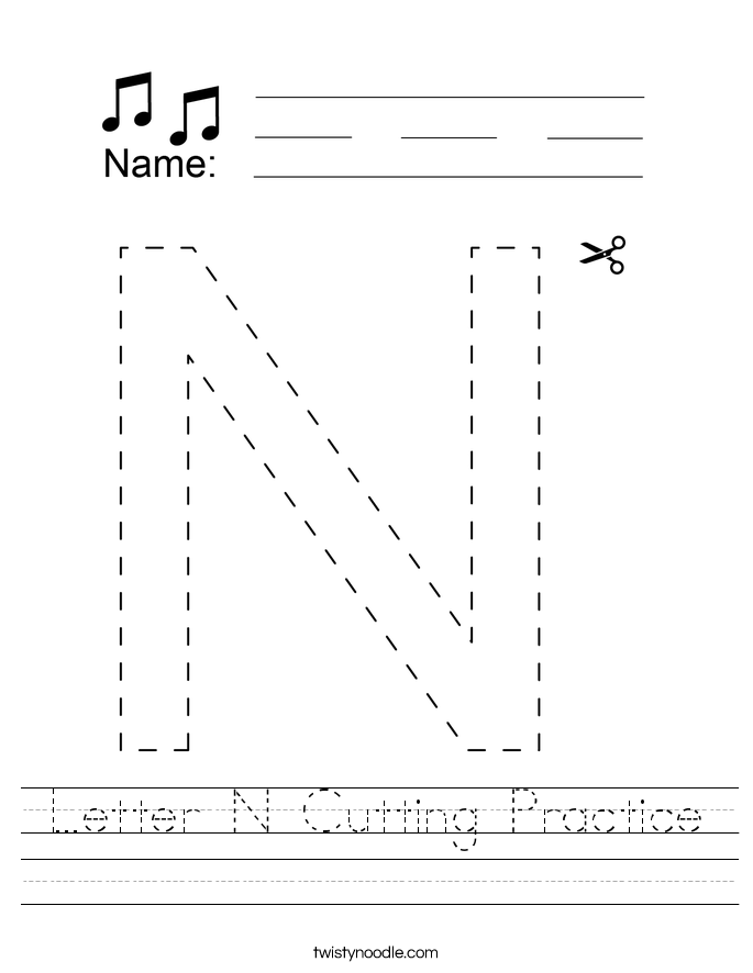 Letter N Cutting Practice Worksheet