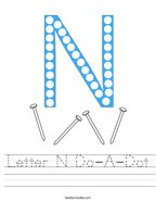 Letter N Do-A-Dot Handwriting Sheet