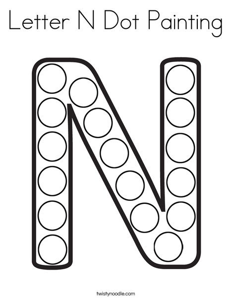 Letter N Dot Painting Coloring Page - Twisty Noodle