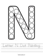 Letter N Dot Painting Handwriting Sheet