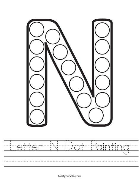 letter n dot painting worksheet twisty noodle. Black Bedroom Furniture Sets. Home Design Ideas