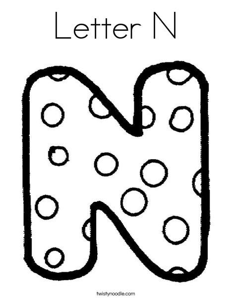 Letter N Dots Coloring Page