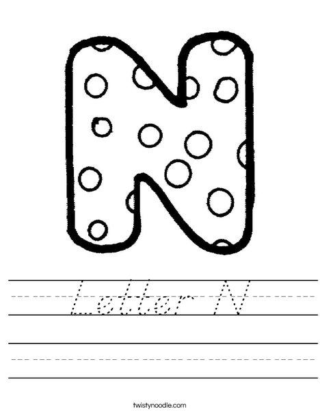 Letter N Dots Worksheet