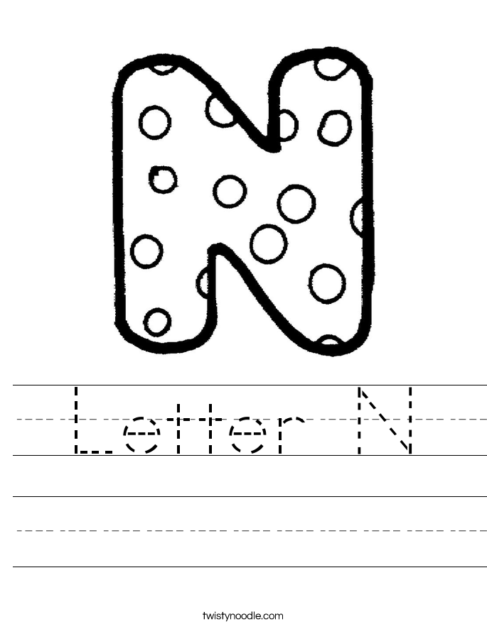 Letter N Worksheet   Twisty Noodle KcIV2PLe