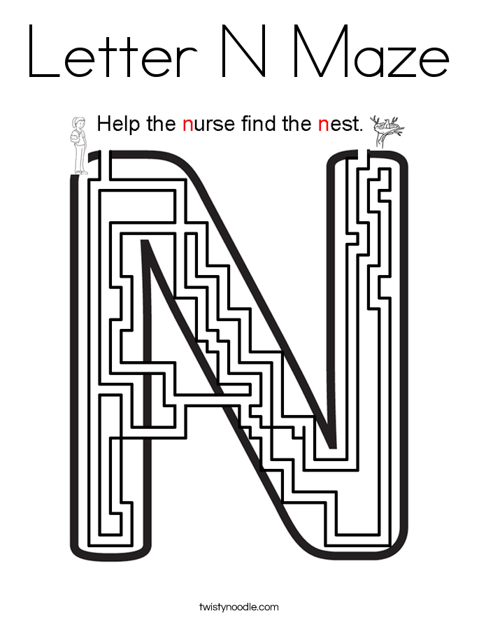 Letter N Maze Coloring Page