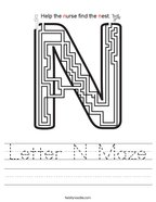 Letter N Maze Handwriting Sheet