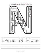 Letter N Maze Handwriting Sheet