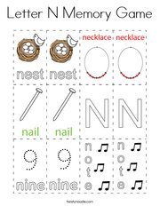 Letter N Memory Game Coloring Page