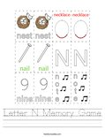 Letter N Memory Game Worksheet