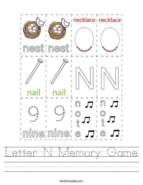 Letter N Memory Game Worksheet