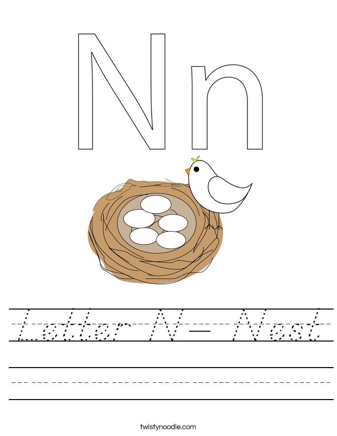 Letter N- Nest Worksheet
