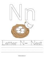 Letter N- Nest Handwriting Sheet
