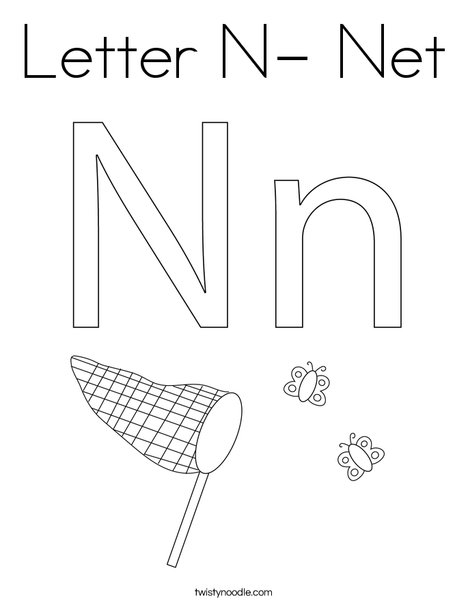 Letter N- Net Coloring Page