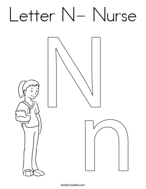 Letter N- Nurse Coloring Page