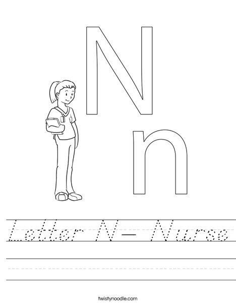 Letter N- Nurse Worksheet