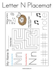 Letter N Placemat Coloring Page