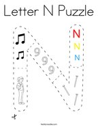 Letter N Puzzle Coloring Page