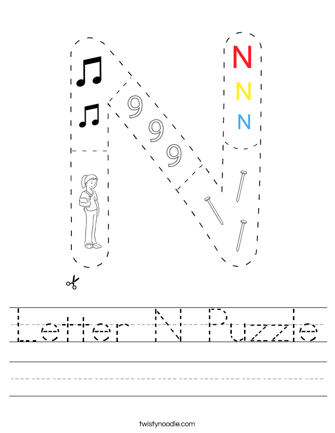 Letter N Puzzle Worksheet