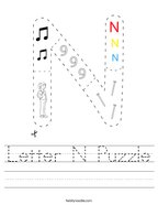 Letter N Puzzle Handwriting Sheet