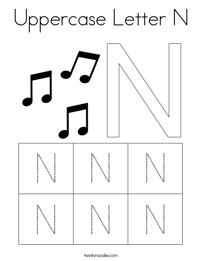 Uppercase Letter N Coloring Page