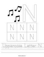 Uppercase Letter N Handwriting Sheet