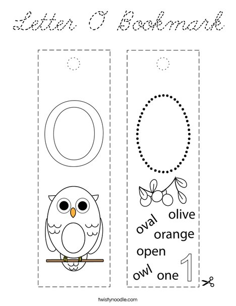 Letter O Bookmark Coloring Page