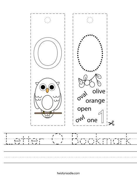 Letter O Bookmark Worksheet