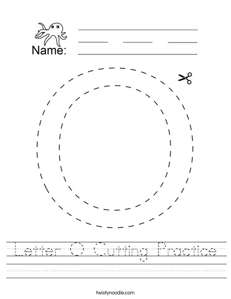 Letter O Cutting Practice Worksheet