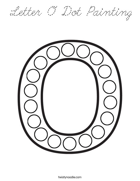 Letter O Dot Painting Coloring Page