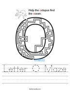 Letter O Maze Handwriting Sheet