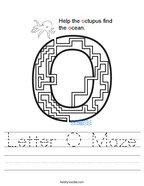 Letter O Maze Handwriting Sheet