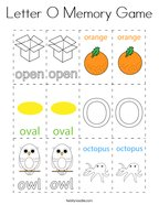 Letter O Memory Game Coloring Page