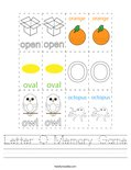 Letter O Memory Game Worksheet