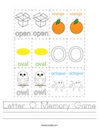 Letter O Memory Game Handwriting Sheet