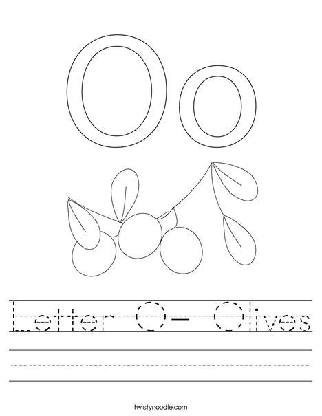 Letter O- Olives Worksheet