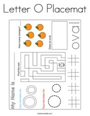 Letter O Placemat Coloring Page