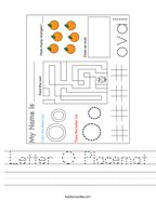 Letter O Placemat Handwriting Sheet