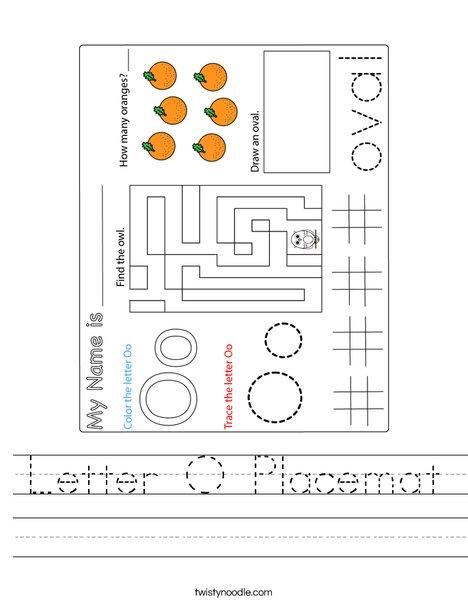 Letter O Placemat Worksheet