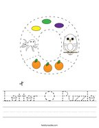 Letter O Puzzle Handwriting Sheet