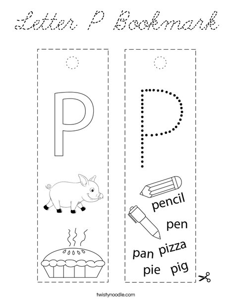 Letter P Bookmark Coloring Page