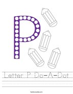 Letter P Do-A-Dot Handwriting Sheet
