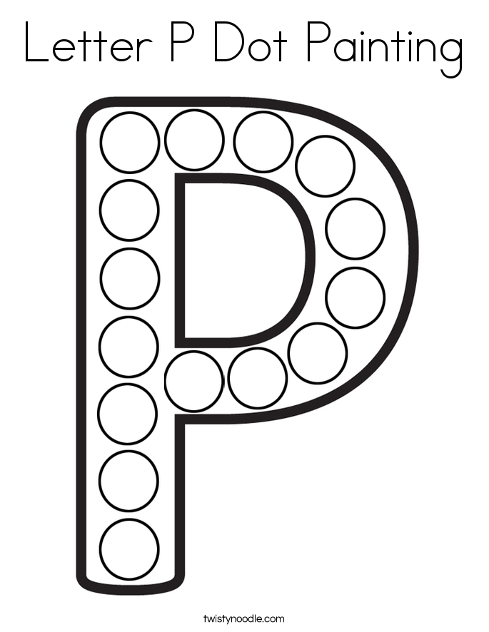 Letter P Dot Painting Coloring Page