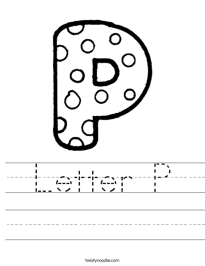 Letter P Worksheet Twisty Noodle