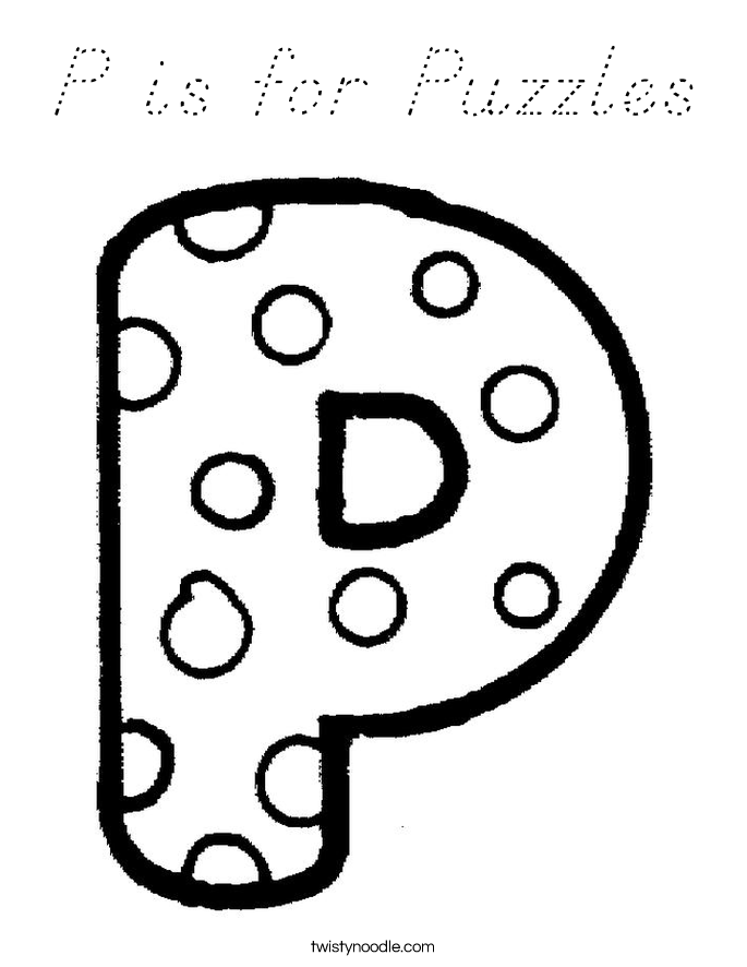 P is for Puzzles Coloring Page