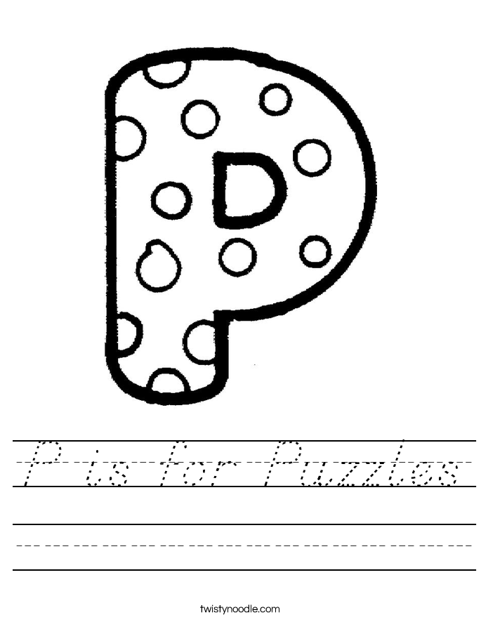 P is for Puzzles Worksheet
