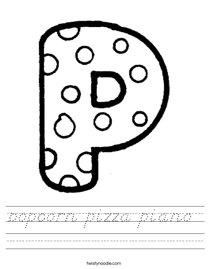 popcorn pizza piano Worksheet