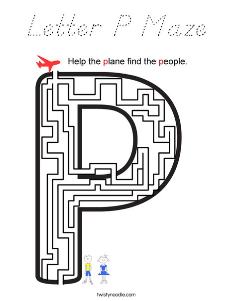 Letter P Maze Coloring Page