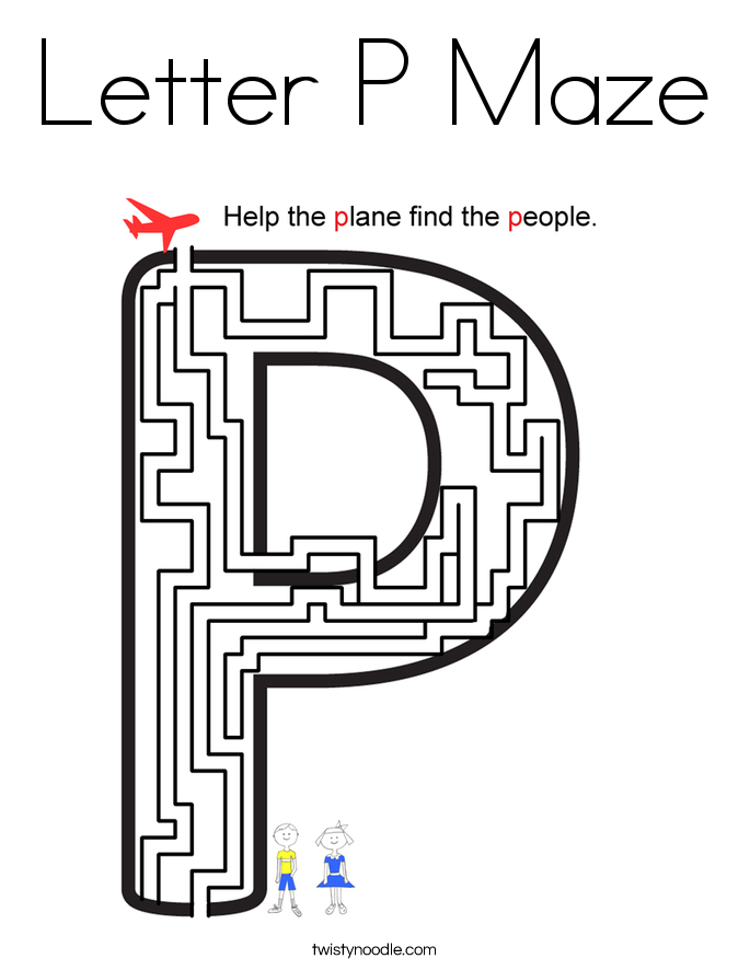 Letter P Maze Coloring Page
