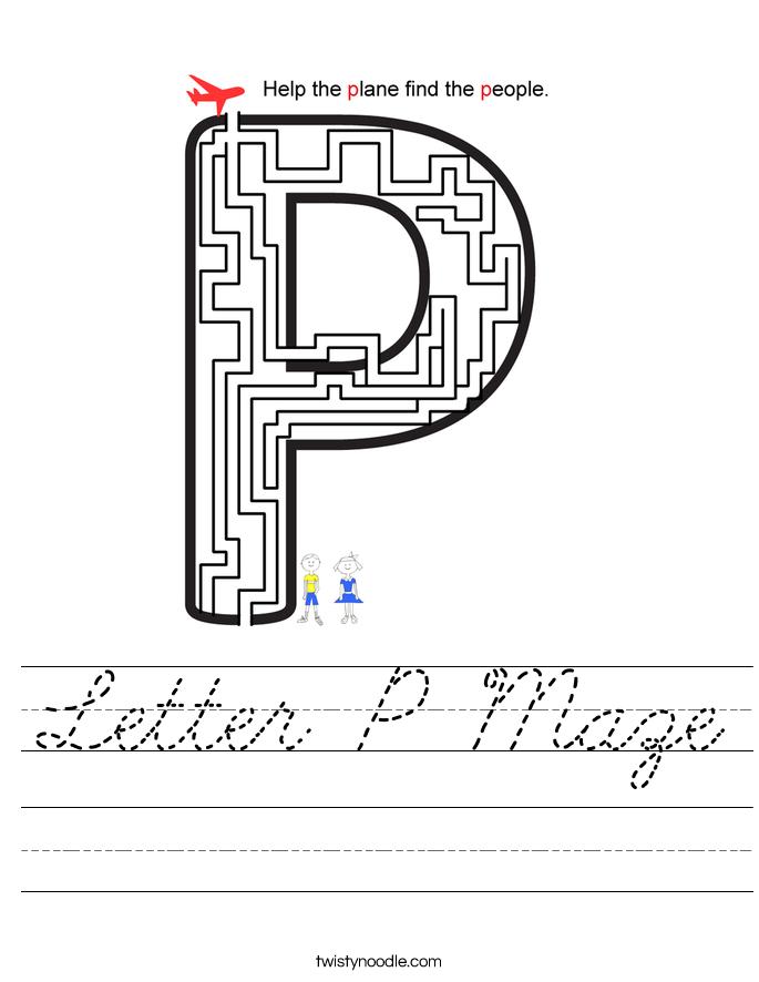 Letter P Maze Worksheet