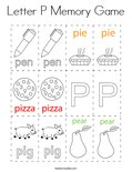 Letter P Memory Game Coloring Page